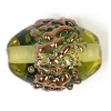 Glass Lamp Bead 14x10mm Oval Olive Green/Copper